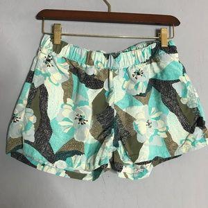 Patagonia Blue Floral Print Athletic Shorts Medium